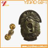 Custom Logo Antique Brass Plated Lion Head Badge Gift (YB-HD-104)