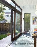 Guichet et porte de glissement en aluminium de finition de couleur de bois de construction