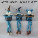 Santa, Snowman et Moose Spring Legged Decoration Gift, 3 Asst
