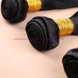 レースの閉鎖の閉鎖が付いている閉鎖の人間の毛髪の織り方が付いているまっすぐのインドのバージンの毛を搭載する8A加工されていない3/4束