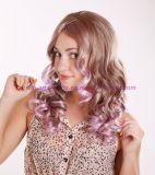 Muti 색깔을%s 가진 긴 꼬부라진 합성 머리 가발
