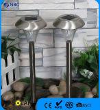 Lumière de pelouse solaire en champignon en acier inoxydable pour jardin ou patio