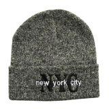 Chapéu bordado flangeando do Beanie do inverno (JRK072)