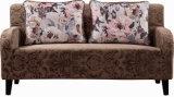 Antikes Art-Liebes-Sitzgewebe-Sofa mit Bett mit den hölzernen Beinen