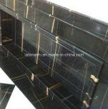 Mármol africano del oro de la losa de mármol negra natural Polished (losa de mármol de Noir Aziza para Wal interior)