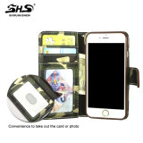 Caja de cuero de la PU de la tira de la muñeca de la tarjeta del soporte del camuflaje de Shs para el iPhone 7