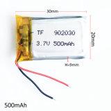 la batterie Li-ion rechargeable de Lipo de polymère de lithium de 3.7V 500mAh pour le jeu vidéo dvd de MP3 GPS PSP joue l'appareil-photo 902030