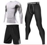 El chaleco de la Humedad-Wicking de la gimnasia de la aptitud del hombre/cortos/envuelve de largo tres pedazos de la ropa de deportes