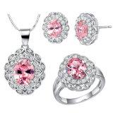Halsband 3 van de Nauwsluitende halsketting van de Oorring van de Ring van de Diamant van Zircon van het Kristal van het Koper van de manier PCs Geplaatste Juwelen