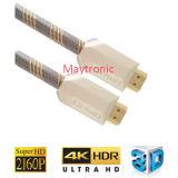 나일론 끈 2.0V 4k를 가진 금에 의하여 도금되는 HDMI 케이블