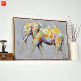 Pintura al óleo colorida animal linda de la lona del elefante de la historieta