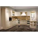 任意選択島が付いている標準的で白い純木の食器棚