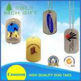 Promoção Atacado Moda Custom Stainless Steel Metal Military Name / Pet / ID / Dog Tag com Print Logo e Necklace