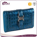 Carpeta azul de las mujeres del cuero genuino de la piel del cocodrilo, pequeña venta al por mayor de Guangzhou de la carpeta de las señoras