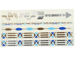 Autoadesivo provvisorio impermeabile metallico Chain blu d'argento del tatuaggio dell'oro