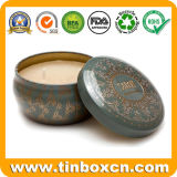 De ronde Doos van het Tin van de Reis, het Tin van de Kaars, de Container van de Kaars van het Metaal