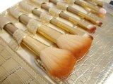 Наборы щетки роскошной золотистой ручки щетки 7PCS состава деревянной косметические с мешком