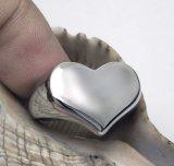 Corazón de plata brillante del acero inoxidable del anillo de los pares