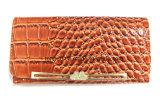 Wallet dell'unità di elaborazione di Croco di colore cachi del blocco per grafici del metallo della signora di cuoio