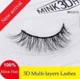 La piel hecha a mano del visión azota las pestañas falsas suaves verdaderas atractivas de las Multy-Capas 3D