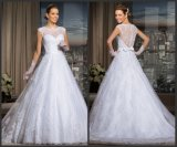 A - riga Lace Bridal Gown Sheer Neckline Wedding gonfio Dress Y20169
