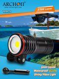 IP68 전문가 2700 루멘 잠수 장비 수중 LED 잠수 플래쉬 등