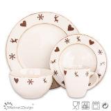 メリークリスマスの陶磁器の石器の食事用食器セット