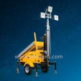Torre clara móvel solar de levantamento hidráulica resistente do diodo emissor de luz da construção
