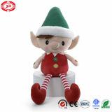 Peluche molle bourrée par poupée d'elfe avec le jouet de Noël de broderie de bouton