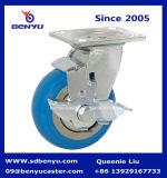 Europäische Art-industrielles Blau PU-Fußrollen-Rad