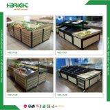 Crémaillère végétale de stand en bois et en métal de supermarché