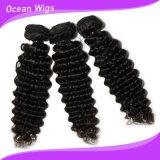 Trame profonde brésilienne de cheveux d'onde de Virign Remy d'action de cheveux de Quercy (W-066c)