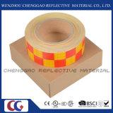 노란 PVC와 사려깊은 테이프 (C3500-G)를 경고하는 빨간 Chequer 안전