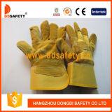 Goldgelbe Kuh-aufgeteiltes Leder-Arbeits-Handschuh-Änderung- am Objektprogrammpalmen-gummierte Stulpe Dlc203