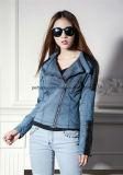 方法女性細いPUの革コートの女性ジャケットの不足分デザイン