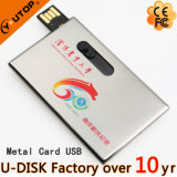 Logo Metal Sliding Credit Card USB Flash Driveが付いているGift昇進のUSB