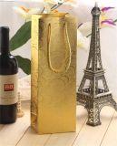 Bolso de papel impreso oro del vino con el sellado
