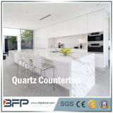 Pierre blanche de Nautral de quartz pour la partie supérieure du comptoir de cuisine dans le projet de Chambre