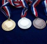 Les médailles blanc en métal ont personnalisé le modèle de médailles avec votre propre logo