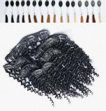 Pinza de pelo 100% de la India en pelucas de las extensiones del pelo medias