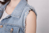 Girare-Giù parte superiore Sleeveless del denim del Crochet di Breasted del collare la singola