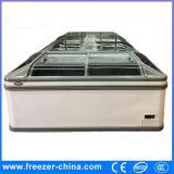 Congelatore commerciale orizzontale superiore di vetro dell'isola dell'alimento Frozen