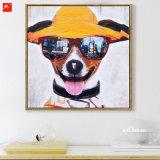 Het katoenen Olieverfschilderij van het Canvas van Puppy met Zonnebril