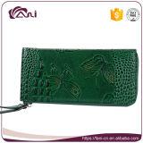 지갑 광저우 제조자, 인쇄되는 백색 녹색 까만 진짜 가죽 지갑 지갑 나비