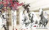 3D Running Horses Peinture à l'huile pour la décoration de la maison