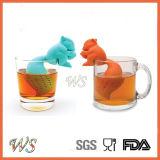 Setaccio stabilito del foglio di Infuser del tè dello scoiattolo del silicone del commestibile Ws-If058 per la tazza della tazza, POT del tè