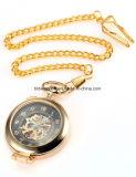 Montre Pocket mécanique d'or de qualité faite sur commande avec la chaîne pour des femmes des hommes