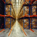 Racking del pallet di Vna per la memoria stretta della navata laterale con le rotaie del pavimento