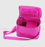 Sac cosmétique de PVC de femmes brillantes promotionnelles faites sur commande de rectangle avec le sac de renivellement de grande capacité