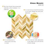 Mattonelle di vetro del Brown e dorate di arte della parete di mosaico per la cucina